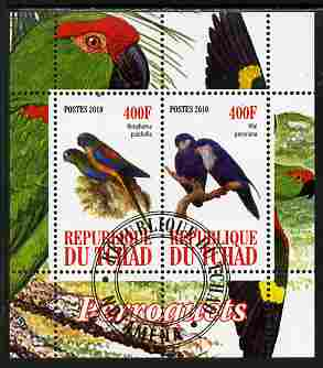 Chad 2010 Parrots #1 perf sheetlet containing 2 values fine cto used