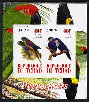 Chad 2010 Parrots #1 imperf sheetlet containing 2 values unmounted mint