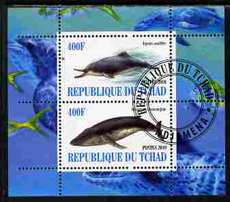 Chad 2010 Whales & Dolphins perf sheetlet containing 2 values fine cto used