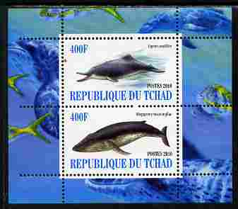 Chad 2010 Whales & Dolphins perf sheetlet containing 2 values unmounted mint