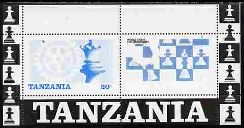 Tanzania 1986 World Chess/Rotary m/sheet perforated proof in blue & black only (as SG MS 463) unmounted mint