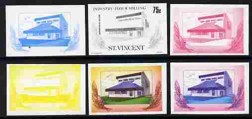 St Vincent 1985 Flour Milling 75c the set of 6 imperf progressive proofs comprising the 4 individual colours plus 2 and 3-colour composites as SG 930 unmounted mint
