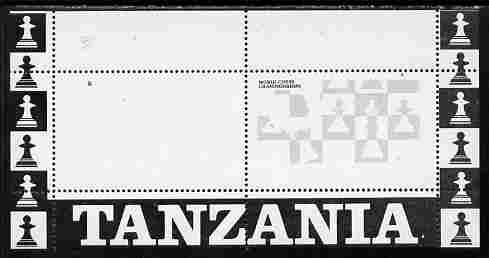 Tanzania 1986 World Chess/Rotary m/sheet perforated proof in black only (as SG MS 463) unmounted mint