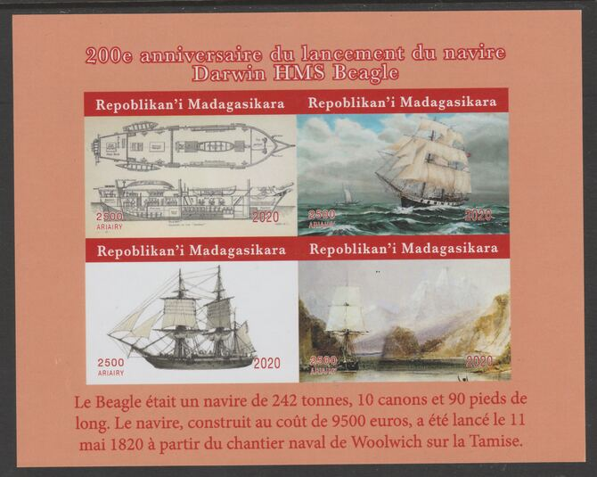 Madagascar 2020 Darwin & HMS Beagle imperf sheetlet containing 4 values unmounted mint