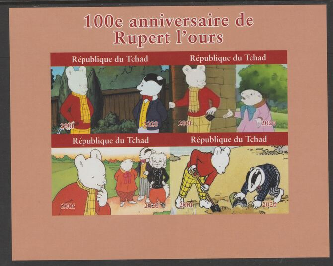 Chad 2020 100th Anniversary of Rupert the Bear imperf sheetlet containing 4 values unmounted mint