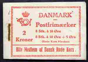 Booklet - Denmark 1939 Numeral & Queen Alexandrine 2k booklet, rusting around staple otherwise complete and fine SG SB21