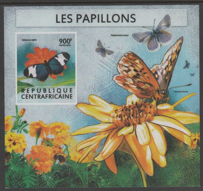Central African Republic 2015 Butterflies #5 imperf s/sheet unmounted mint. Note this item is privately produced and is offered purely on its thematic appeal