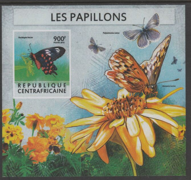 Central African Republic 2015 Butterflies #6 imperf s/sheet unmounted mint. Note this item is privately produced and is offered purely on its thematic appeal