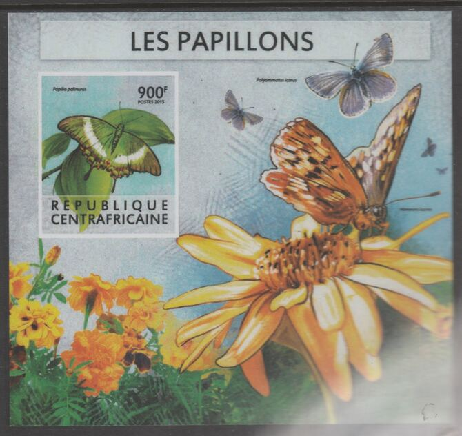 Central African Republic 2015 Butterflies #8 imperf s/sheet unmounted mint. Note this item is privately produced and is offered purely on its thematic appeal