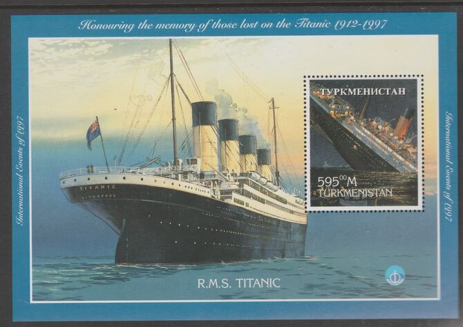 Turkmenistan 1997 Titanic perf souvenir sheet containing 1 value unmounted mint. Note this item is privately produced and is offered purely on its thematic appeal
