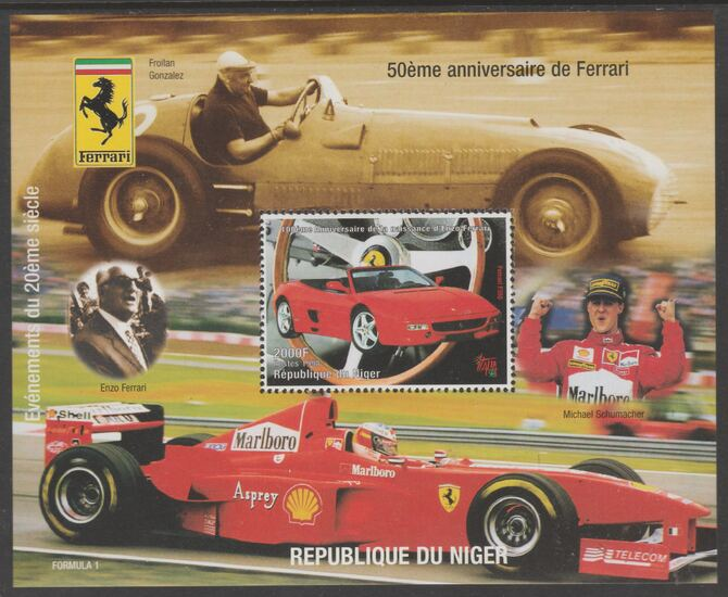 Niger Republic 1998 Ferrari perf s/sheet with Italia 98  imprint unmounted mint. Note this item is privately produced and is offered purely on its thematic appeal