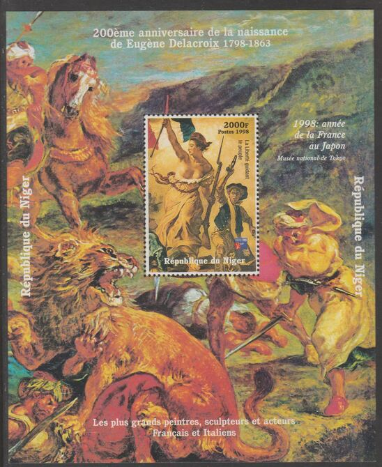 Niger Republic 1998 Birth Anniv of Eugene Delacroix perf s/sheet with Philex 99  imprint unmounted mint. Note this item is privately produced and is offered purely on its thematic appeal