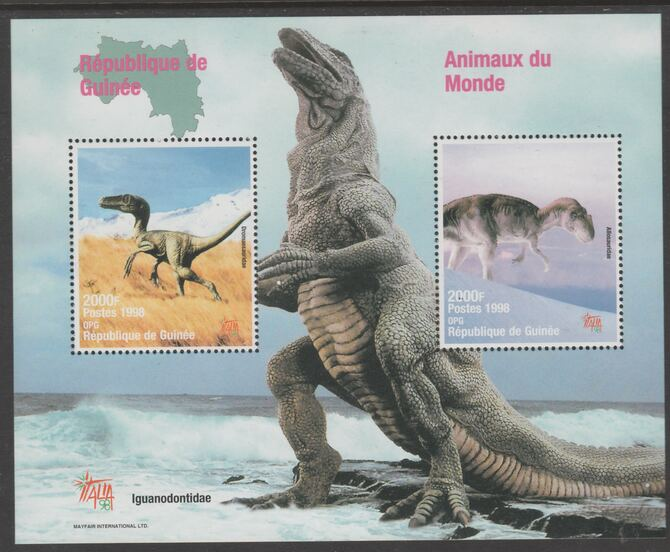 Guinea - Conakry 1998 Dinosaurs perf s/sheet containing 2 values each with Italia 98  imprint unmounted mint. Note this item is privately produced and is offered purely on its thematic appeal