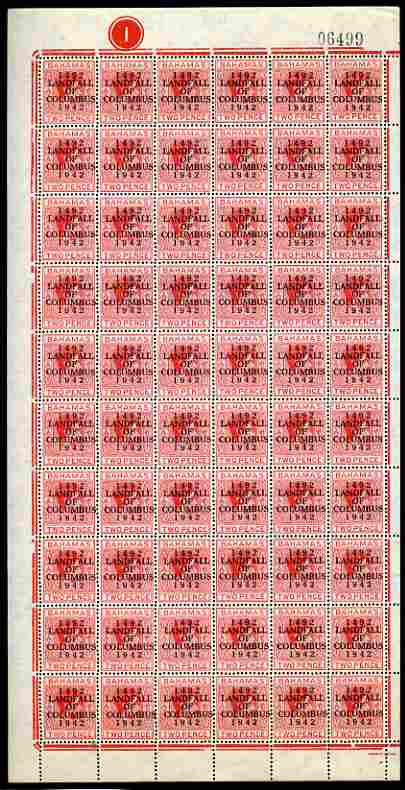 Bahamas 1942 KG6 Landfall of Columbus 2d scarlet complete left pane of 60 including plate varieties R1/1 & R 10/1 (Damaged corners) plus overprint varieties R10/2 (Flaw on O) among others, a few split perfs otherwise fine unmounted mint