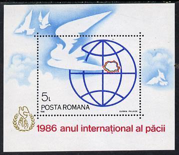 Rumania 1986 Int Year of Peace m/sheet, Mi BL 228