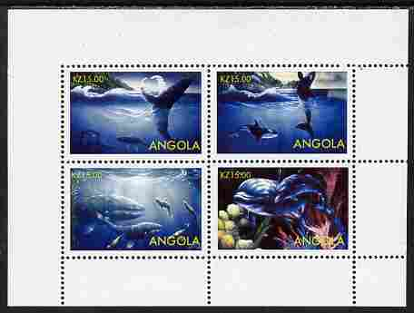 Angola 2004 Whales perf sheetlet containing 4 values unmounted mint. Note this item is privately produced and is offered purely on its thematic appeal