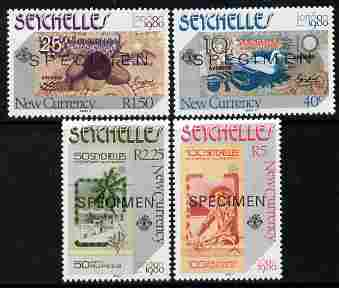 Seychelles 1980 London 1980 Stamp Exhibition - Currency Notes set of 4 each overprinted SPECIMEN unmounted mint SG 468s-71s