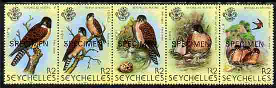 Seychelles 1980 Birds 2nd Issue - Kestrel perf strip of 5 each overprinted SPECIMEN unmounted mint SG 463s-67s