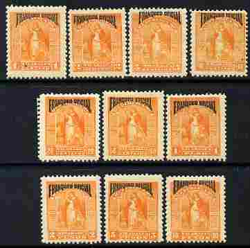 Nicaragua 1894 Official complete set of 10 values unmounted mint SG O78-87