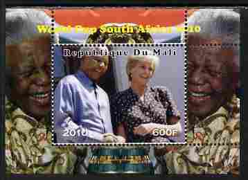Mali 2010 Football World Cup #2 individual perf deluxe sheetlet (Stamp shows Diana with Nelson Mandela) unmounted mint. Note this item is privately produced and is offered purely on its thematic appeal