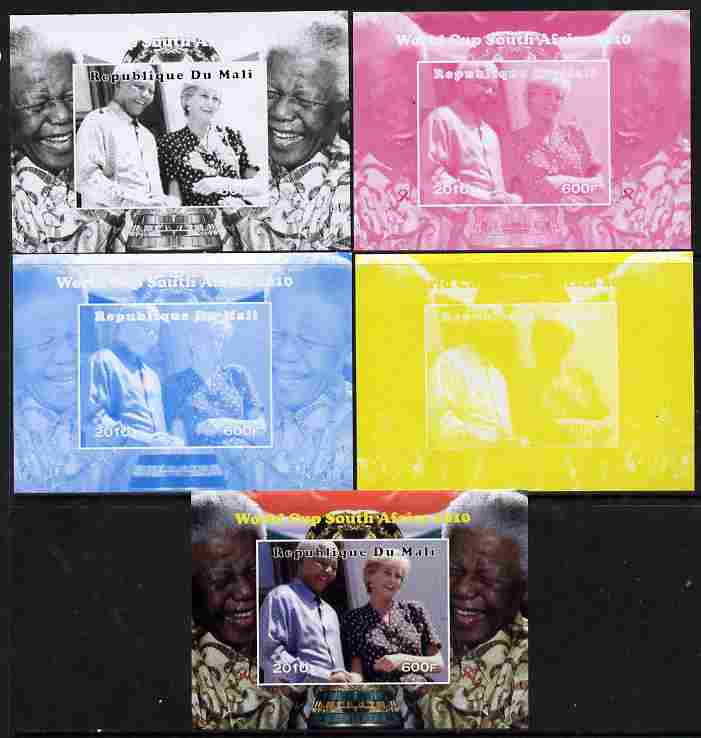 Mali 2010 Football World Cup #2 individual deluxe sheetlet (Stamp shows Diana with Nelson Mandela) - the set of 5 imperf progressive proofs comprising the 4 individual colours plus all 4-colour composite, unmounted mint