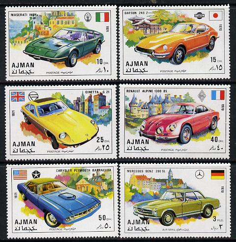 Ajman 1971 Cars set of 6 unmounted mint, Mi 956-61