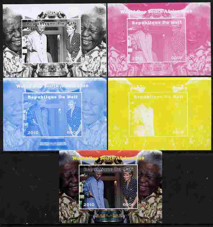 Mali 2010 Football World Cup #4 individual deluxe sheetlet (Stamp shows Diana with Nelson Mandela) - the set of 5 imperf progressive proofs comprising the 4 individual colours plus all 4-colour composite, unmounted mint
