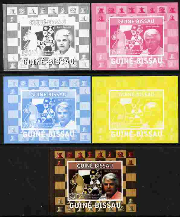 Guinea - Bissau 2008 Chess Champions - Boris Spassky individual deluxe sheetlet - the set of 5 imperf progressive proofs comprising the 4 individual colours plus all 4-colour composite, unmounted mint