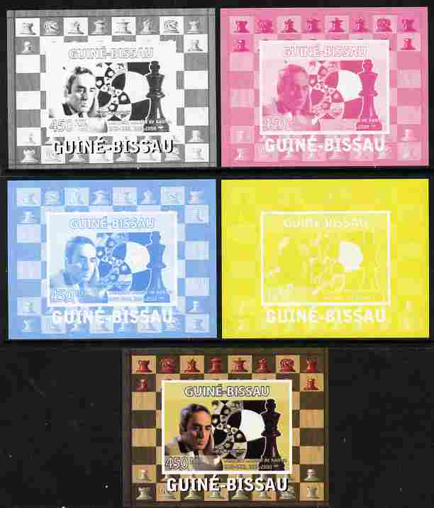 Guinea - Bissau 2008 Chess Champions - Gary Kasparov individual deluxe sheetlet - the set of 5 imperf progressive proofs comprising the 4 individual colours plus all 4-colour composite, unmounted mint
