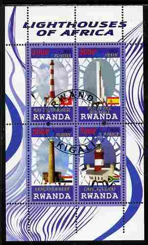 Rwanda 2010 Lighthouses of Africa perf sheetlet containing 4 values fine cto used