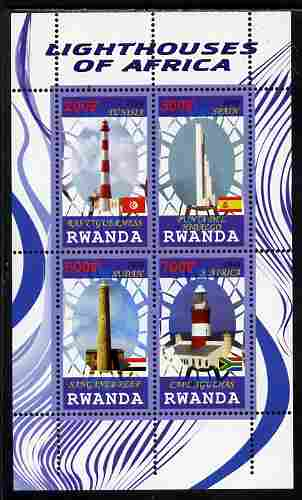 Rwanda 2010 Lighthouses of Africa perf sheetlet containing 4 values unmounted mint