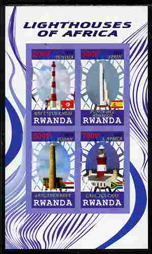 Rwanda 2010 Lighthouses of Africa imperf sheetlet containing 4 values unmounted mint