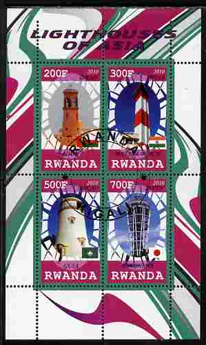 Rwanda 2010 Lighthouses of Asia perf sheetlet containing 4 values fine cto used