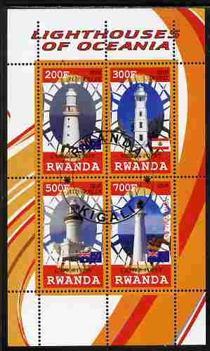 Rwanda 2010 Lighthouses of Oceania perf sheetlet containing 4 values fine cto used