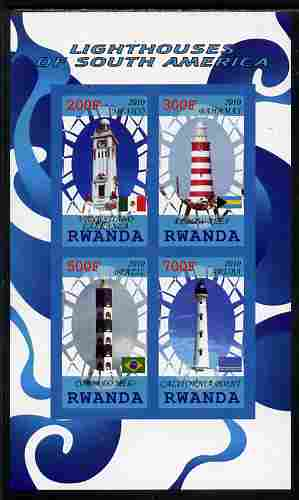 Rwanda 2010 Lighthouses of South America imperf sheetlet containing 4 values unmounted mint