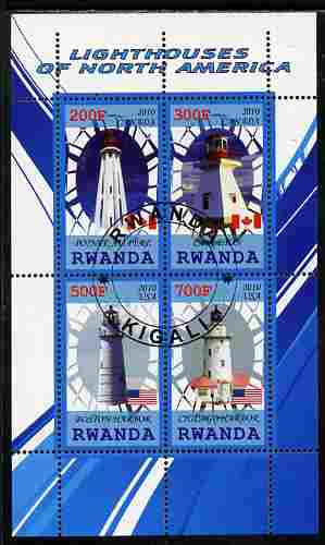 Rwanda 2010 Lighthouses of North America #1 perf sheetlet containing 4 values fine cto used