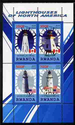 Rwanda 2010 Lighthouses of North America #1 perf sheetlet containing 4 values unmounted mint
