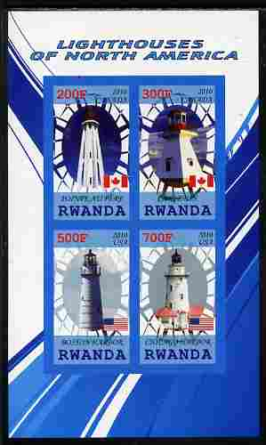 Rwanda 2010 Lighthouses of North America #1 imperf sheetlet containing 4 values unmounted mint