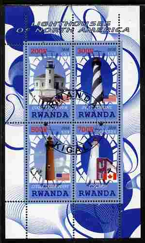 Rwanda 2010 Lighthouses of North America #2 perf sheetlet containing 4 values fine cto used
