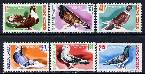 Rumania 1981 Pigeons set of 6 unmounted mint, Mi 3777-82*, stamps on birds, stamps on pigeons