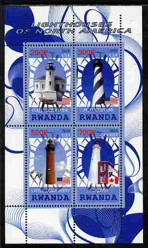 Rwanda 2010 Lighthouses of North America #2 perf sheetlet containing 4 values unmounted mint