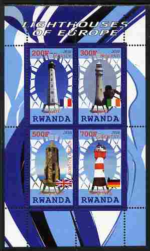 Rwanda 2010 Lighthouses of Europe #1 perf sheetlet containing 4 values unmounted mint