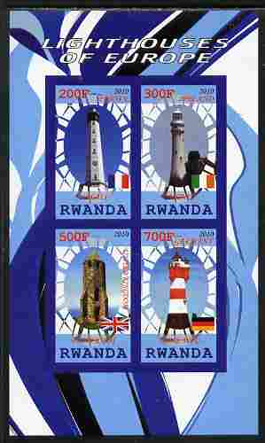 Rwanda 2010 Lighthouses of Europe #1 imperf sheetlet containing 4 values unmounted mint