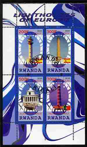 Rwanda 2010 Lighthouses of Europe #2 perf sheetlet containing 4 values fine cto used