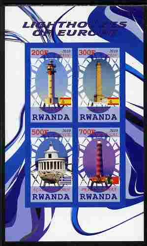 Rwanda 2010 Lighthouses of Europe #2 imperf sheetlet containing 4 values unmounted mint