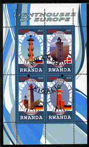 Rwanda 2010 Lighthouses of Europe #3 perf sheetlet containing 4 values fine cto used