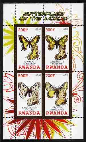 Rwanda 2010 Butterflies of the World #1 perf sheetlet containing 4 values unmounted mint