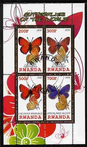 Rwanda 2010 Butterflies of the World #2 perf sheetlet containing 4 values fine cto used