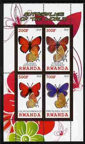 Rwanda 2010 Butterflies of the World #2 perf sheetlet containing 4 values unmounted mint
