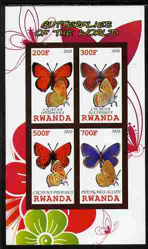 Rwanda 2010 Butterflies of the World #2 imperf sheetlet containing 4 values unmounted mint